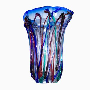 Vase Colored Threads in Murano Glass by Valter Rossi for VRM