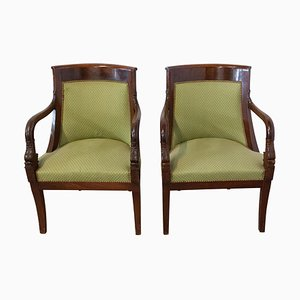 French Empire Mahogany Desk Chairs, 20th Century, Set of 2