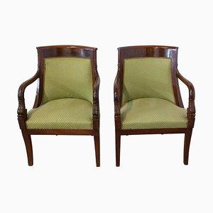 French Empire Mahogany Desk Chairs, 20th Century, Set of 2