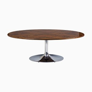Czech Bauhaus High Gloss Lacquer, Chrome & Walnut Oval Table from Kovona, 1930s
