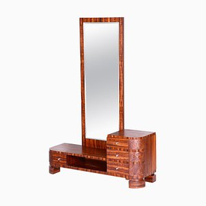 Czech Art Deco Brown Thuja Dressing Mirror, 1930s