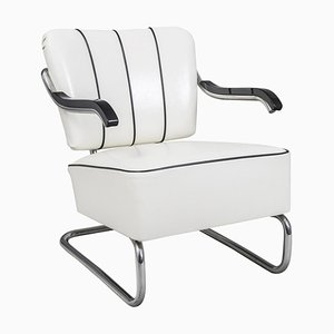 White Leather and Tubular Chrome Cantilever Armchair from Mücke-Melder, 1930s