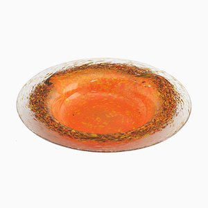 Large Bowl in Orange with Yellow, Bronze and Aventine Inclusions by Salvador Ysart for Monart, 1930s