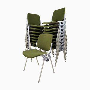 Olive Green DSC 106 Stacking Chairs by Giancarlo Piretti for Castelli, 1960s, Set of 18