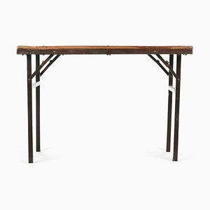 Folding Table with Wooden Top and Legs in Iron
