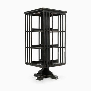 Black Wooden Movable Bookcase