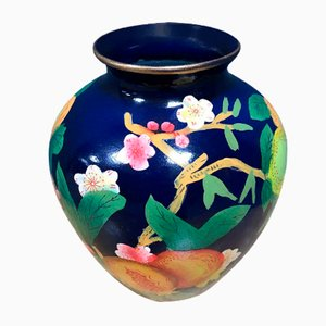 French Hand-Painted Blue Vase