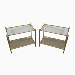 Large French Brass Side Tables with Fluted Legs and Finials in the Style of Maison Jansen, 1970s. Set of 2