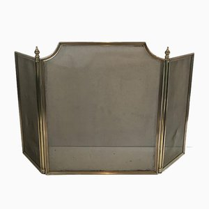 French Neoclassical Style Brass and Brass Grilling Fireplace Screen, 1940s