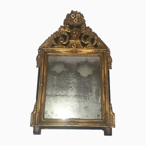 French Restoration Period Gilt and Green Painted Mirror, 1800s