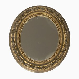 Small French Gilt Stuck Oval Mirror, 1900s