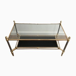 French Neoclassical Style Brushed Steel & Brass Coffee table with Black Leather Shelves and Clear Glass Top by Maison Jansen, 1940s