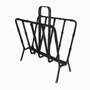French Black Leather and Brass Magazine Rack by Jacques Adnet, 1950s