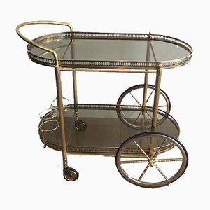 French Neoclassical Style Oval Brass and Gilt Drinks Trolley with Greenish Smoked Glass, 1970s