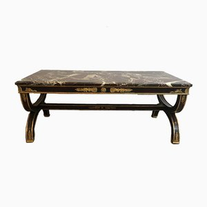 French Empire Style Painted Wood Coffee Table with Gilt Palm Leaves & Decorations with Marble Top, 1940s