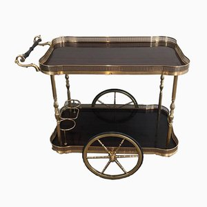 French Neoclassical Style Mahogany and Brass Drinks Trolley, 1940s