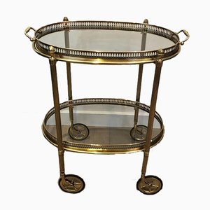 Small French Oval Brass Drinks Trolley with 2 Removable Trays by Maison Bagués, 1940s