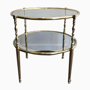 French Round Brass Side Table with Glass Shelves Surrounded by Silvered Mirror, 1970s