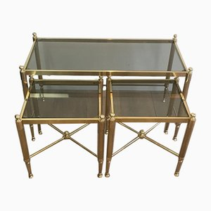 French Tripartite Brass Coffee Table & Nesting Tables with Greenish Glass Shelves, 1970s, Set of 3