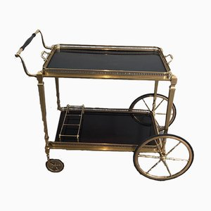French Neoclassical Style Brass and Mahogany Drinks Trolley by Maison Jansen, 1970s
