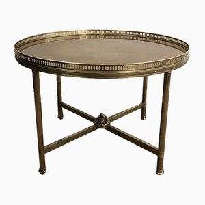 Small French Neoclassical Style Round Brass Coffee Table with Gold Top by Maison Jansen, 1940s
