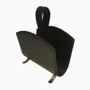 French Leather Magazine Rack on a Brushed Steel Base, 1950s