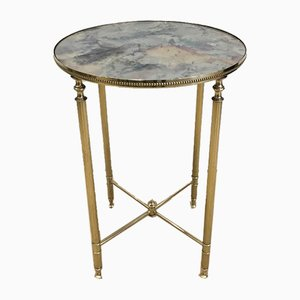 French Neoclassical Style Round Brass Side Table with Faux-Antique Mirror Top in the Style of Maison Jansen, 1940s