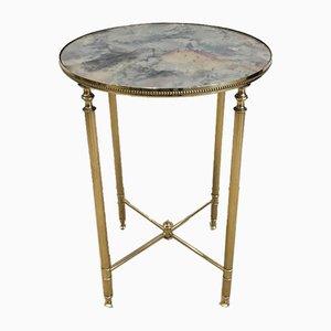 Tavolino rotondo in stile neoclassico in ottone con ripiano a specchio, Francia, anni '40