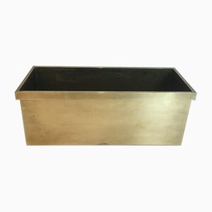 French Neoclassical Style Rectangular Brass Planter, 1970s