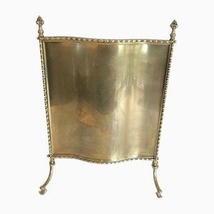 French Bronze and Brass Faux Bamboo Fireplace Screen by Maison Bagués, 1940s