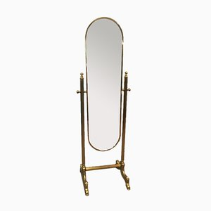 French Neoclassical Style Brass Psyche Mirror on Stand, 1970s