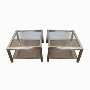 Large French Chrome Side Tables, 1970s, Set of 2