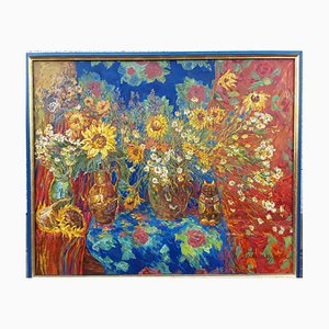 Dipinto ad olio Natura morta con girasoli di Nina Balagurova, 1993