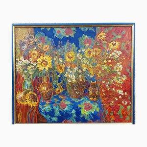 Peinture à l'Huile Still Life with Sunflowers par Nina Balagurova, 1993