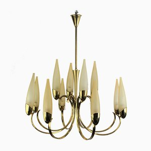 Mid-Century 12-Flame Chandelier in the Style of Stilnovo