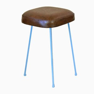 Stools with Leatherette Seat and Iron Frame, 1960s, Set of 2