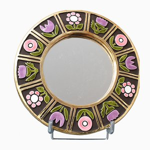 Ceramic Wall Mirror with Flower Motif by Mithé Espelt, 1960s
