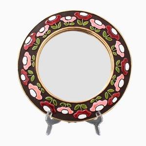 Specchio da parete in ceramica con motivo floreale di Mithé Espelt, anni '60