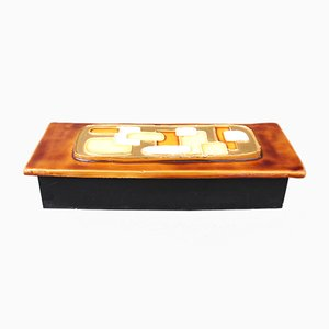 Jewelry Box with Decorative Ceramic Lid by Mithé Espelt, 1960s