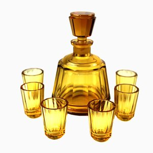 Mid-Century Amber Glass Liqueur Set from Moser Karlsbad, Set of 7
