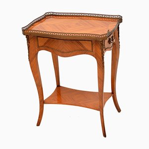 French Inlaid Marquetry Side Table, 1950s
