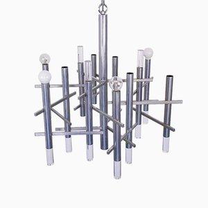 Modern Metal 9-Light Ceiling Lamp by Gaetano Sciolari, 1970s