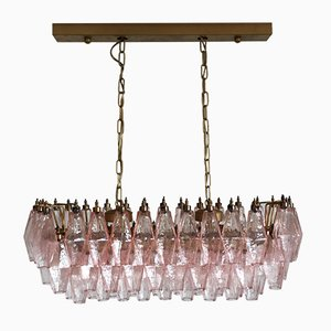 84 Pink Murano Glass Poliedri Chandelier by Carlo Scarpa, 1978