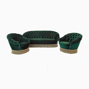 Vintage Sofa & Armchairs in the Style of Gio Ponti, 1950s, Set of 3