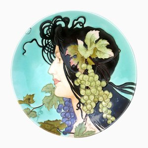 Art Nouveau French Lady Pottery Ceramic from Longchamp, 1900s
