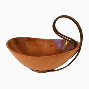 Curved Wooden Bowl with Brass Handle from Grasoli, 1950s