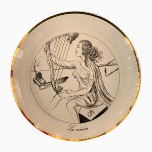 Vintage La Porcelaine La Musica the Seven Arts après Salvador Dali, 1980