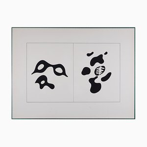 Eyeglasses and Lorgnette the Skeleton and His Entourage Screenprint by Hans Arp, 1928