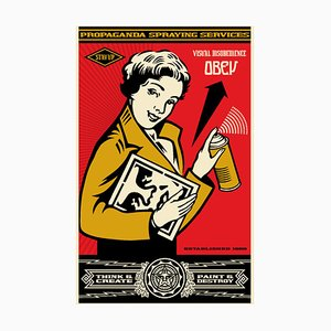 Stay up Girl Lithograph by Shepard Fairey
