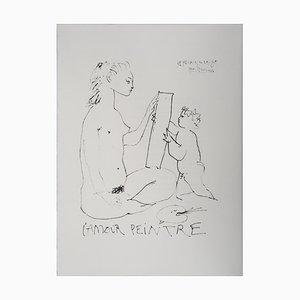 Litografia The Painter Love di Pablo Picasso, 1974